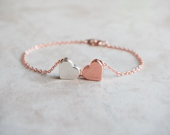 2 Heart Bracelet, Rose Gold, Silver, 2 Sisters, Best Friend, Birthday Gift, Thank You, Mother Daughter, Delicate, Dainty, Thin, Meaningful