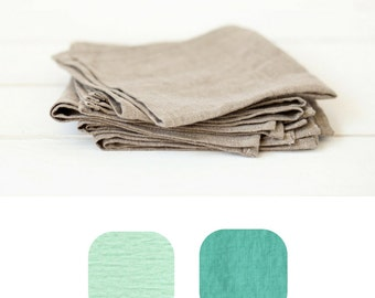 Mint linen napkins set of 6 - Mint napkins - Turquoise linen napkins set - Softened linen napkin cloths - Wedding napkins
