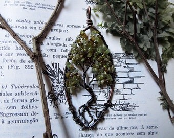 Green Garnet Tree of Life, Yggdrasil, Wisdom Tree, Green Garnet Pendant, Large Tree of Life, Celtic Pendant