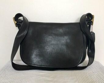 Vintage COACH 9951 Black Leather Classic Patricia's Legacy Shoulder Saddle Bag Purse