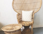 Vintage Wicker Peacock Chair, Boho Chic Furniture, Sunroom, Patio, Deck, Porch, Furniture, Fan Chair, 1960s Retro, 1970s Home