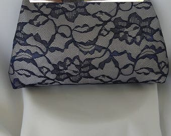 navy blue silver gray lace wedding bridesmaid evening prom clutch purse BBsCustomClutches