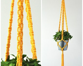 Macrame Plant Hanger / indoor plant holder / 50 inch long Hanging Planter / Pot Hanger / Yellow Hanging Planter / Modern Macrame Hanger