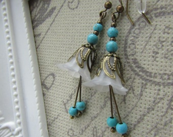 Turquoise and White Lucite Flower Earrings