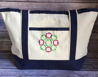 Teacher Canvas Personalized Embroidered Monogrammed Tote Bag