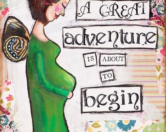 Pregnancy Art - Pregnancy Announcement - Pregnancy Gift - Baby Announcement - Mom To Be Gift - Gift for Pregnant Woman - Mixed Media Art