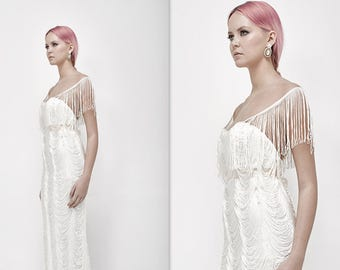 Vintage Style Wedding Dress, Fringes Wedding Dress, Unique Wedding Dress, 20s wedding dress, Vintage Wedding Dress, mother of the bride dres
