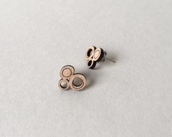 Wooden Earrings | Laser Cut Earrings Bubbles | Beech Plywood Earrings | Studs | Modern Earrings | Geometric Earrings