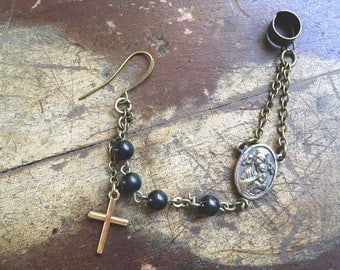 single ear cuff pierced with rosary chain and antique religious medallion Cross earring