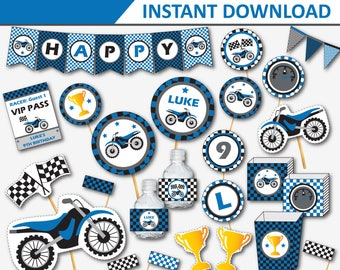 Motocross Birthday - Motorcycle Party - Dirt Bike Birthday - Motocross Decor - Dirtbike Party- Motorcycle Party Printable (Instant Download)