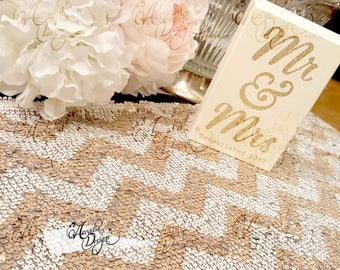 Sequin Table Runner, Sparkly Chevron White & Rose Gold Sequin Runner for Party Event Reception Dining Table Decoration Gift Idea