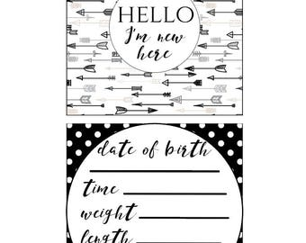 Black & White Preemie NICU Milestone Cards and a no touching sign (DIGITAL COPY)