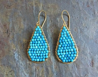 Turquoise gemstone gold hoop statement earrings