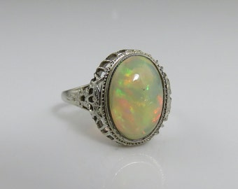 Art Deco 14k Filigree Opal Ring Engagement Ring Wedding Ring.