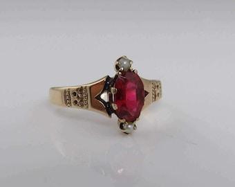 Victorian 14k  Gold Garnet Seed Pearl Ring.