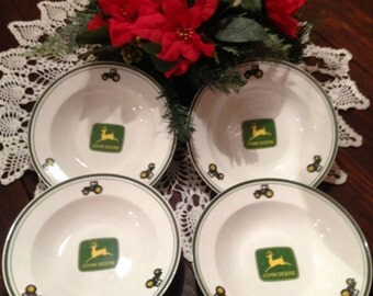 "John Deere Salad Dinner Soup Bowl 9"" Set of 4 Licensed Gibson Collector Dinnerware Tableware Collectible"