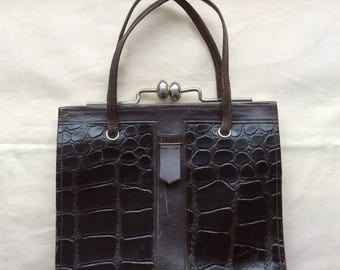 Vintage 1920s 30s Art Deco handbag, 1920s 30s leather bag, leather moc croc bag.
