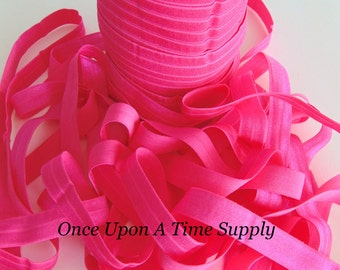 Bright Pink Fold Over Elastic for Baby Headbands -  5 Yards of 5/8 inch FOE - Craft Embellishment - Solid Color Bright Elastic By The Yard