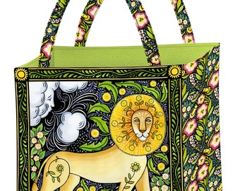 The Four Seasons Spring Tote Bag Kit; Julie Paschkis; In the Beginning Fabrics; Incl Pattern, fabric & batting; Lion and Lamb; Folk Art