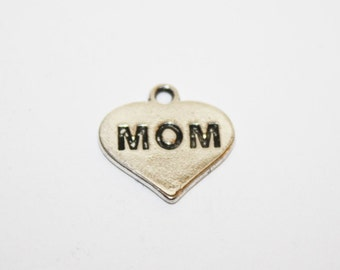 Mom Heart Charms Pendant Silver - 15x15mm - 10ct - #640