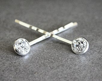 Silver Druzy Bobby Pins, Silver Druzy Hair Pins, Silver Hair Accessory, Silver Bobby Pins, Silver Hair Pins, Bridal Bobby Pins, Bridal Hair