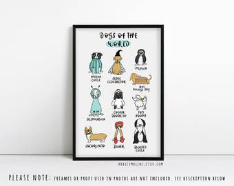Dog Puns print, dog lover gift, pug gifts, Sausage dog
