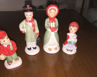 Vintage porcelain carolers family of four Taiwan