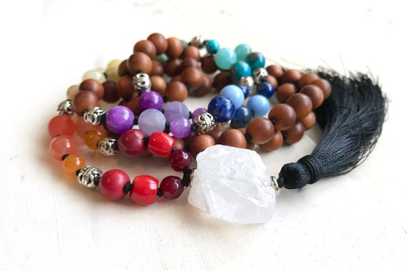 Chakra Mala Bead Necklace, 7 Chakra Colors, Yoga Meditation Beads, Mixed Gemstones And Sandalwood, Hand Knotted For Strength