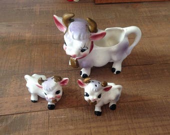 Cow Creamer And Salt And Pepper Shakers, Cow Kitchen, Cow Decor, Vintage  Cows