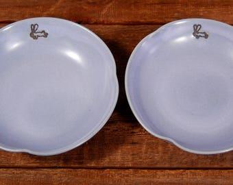 Ceramic Hand Thrown Dish, Small Lavender Bowl with Bunny, Stoneware Dish in Lavender, Ceramic Prep Bowls Handmade, Cute Pottery Rabbit Bowls