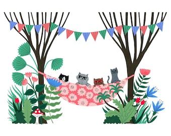 A4 Cool Cats print | Wall art | Digital print | Botanical print | animal illustration | Patterned floral art | home decor | childrens art