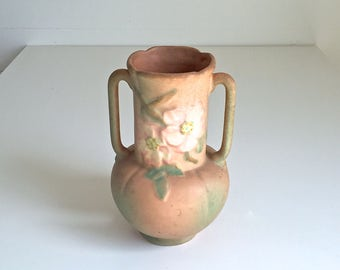 Vintage Weller Pottery Vase Shabby Distressed Decor Dogwood Ceramic Pottery Peach White Pink Green Urn Vase Double Handle