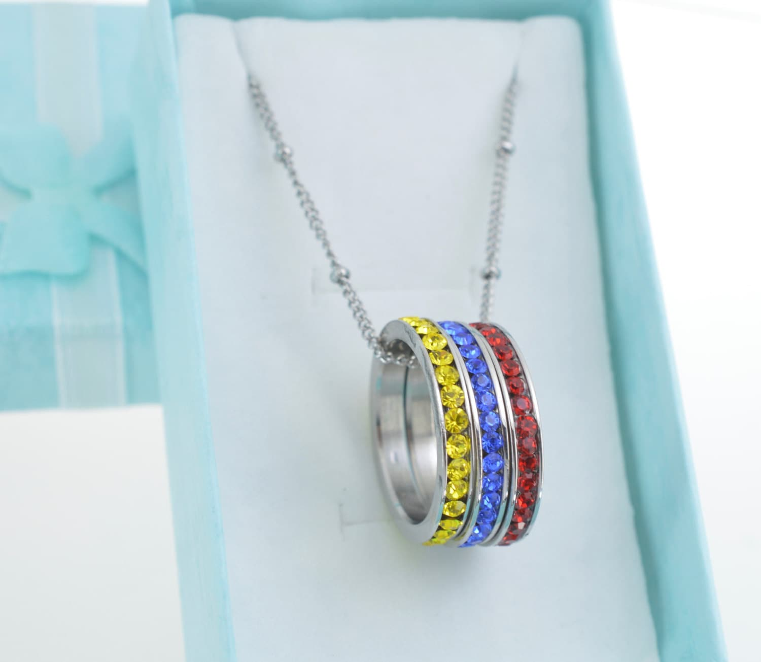 circle birthstone necklace for grandmother or