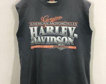 Vintage 1991 Harley Davidson Santa Cruz Faded Motorcycle Muscle TShirt Sz L