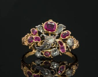 Genuine Georgian Natural Ruby and Diamond Rare Giardinetti Antique Ring