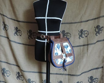 Purse, pouch, belt bag, steampunk, blue, hot air balloon, suedette, leather