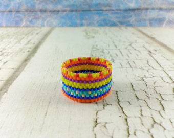 Statement ring Hypoallergenic ring Boho ring Cocktail ring Wide ring Wide band ring Hippie ring Rainbow ring lgbt pride ring Aqua ring