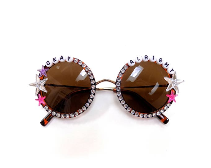 """moe.  """"Okay Alright"""" hand decorated Groovy Glasses, funky embellished festival shades"""