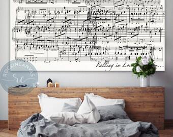 1st Anniversary Gift, Sheet Music On Canvas, Music Notes, First Anniversary Gift For Her, Gift For Wife, Wedding gift, RockinCanvas