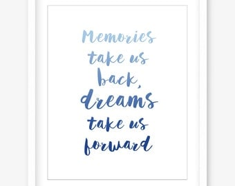 Inspirational print - printable quote wall art - dreams quote - blue quote art - printable home decor - typography poster - INSTANT DOWNLOAD