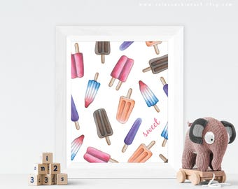 Popsicle Art Print / Popsicles Art / Rainbow Popsicle Nursery Art / Popsicle Art / Summer Desserts Art / Popsicle Painting