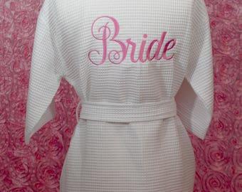 Bride bath robe, Bride gift, Wedding bath robe, wedding gift, cotton robe,Personalized bath robe,