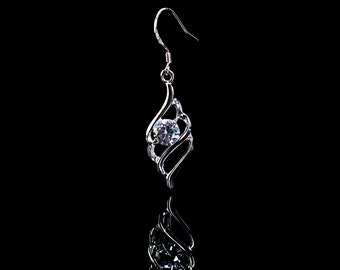 Cubic Zirconia and Sterling Silver Dangle Earrings/ Silver Earrings/ Silver Jewelry/ Statement earrings/ Dangle Earrings/Bridesmaid