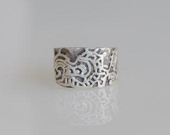 Camazotz Ring - Mayan ring - Mayan god ring - Sterling Silver .925 - pirate ring - explorer's ring