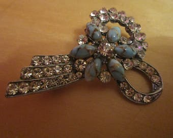 "vintage silvertone brooch with sparkling clear stones/turqoise ceramic stones 2""high"