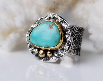 Turquoise Ring, Arizona Turquoise, Sleeping Beauty Turquoise Ring, One of a Kind Ring, Handmade, Blue Stone Ring, Sterling Silver Ring,