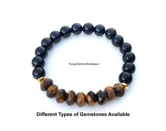 Tiger Eye Bracelet-Black Tourmaline Bracelet-Brown Bracelet-Men Women Gemstone-Natural Genuine Tiger Eye Black Tourmaline Gemstone Bracelet