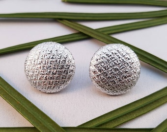 Silver Fabric Covered Button Stud Earrings - Hypo-Allergenic Surgical Steel
