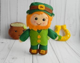Felt leprechaun ornament Cute leprechaun figurine Leprechaun doll Felt st patricks day decorations Gifts For Friends  Irish Wedding Gift