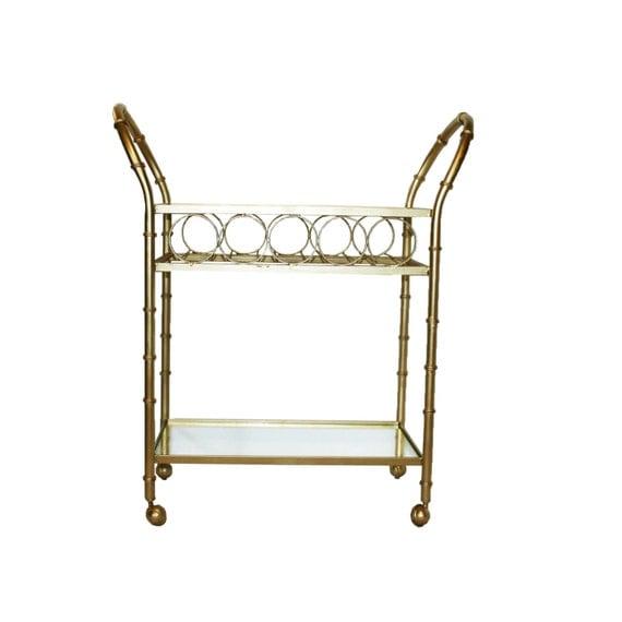 vintage gold faux bamboo bar cart w wine rack. Black Bedroom Furniture Sets. Home Design Ideas